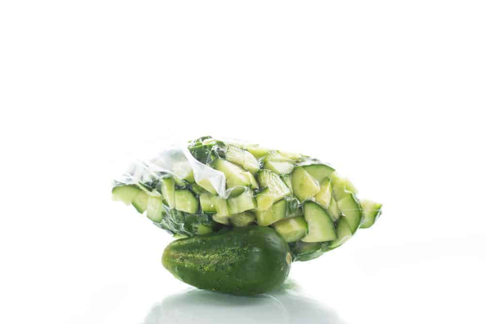 Sliced cucumbers in a bag
