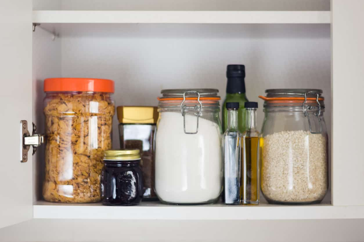Food being stored in a food storage cupboard