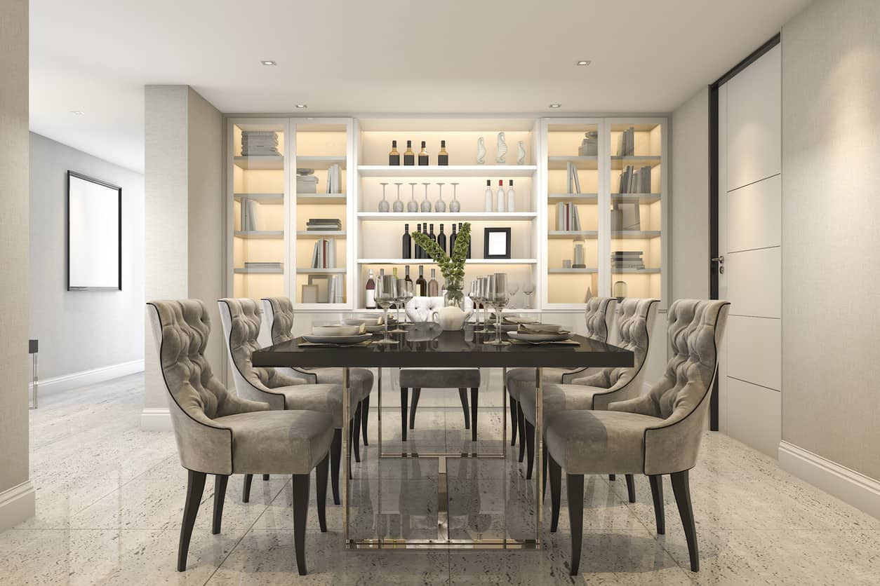 Dining room with built-in shelving