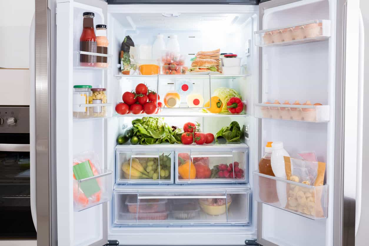 Food stored in a refrigerator