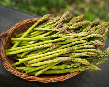Fresh asparagus in basket