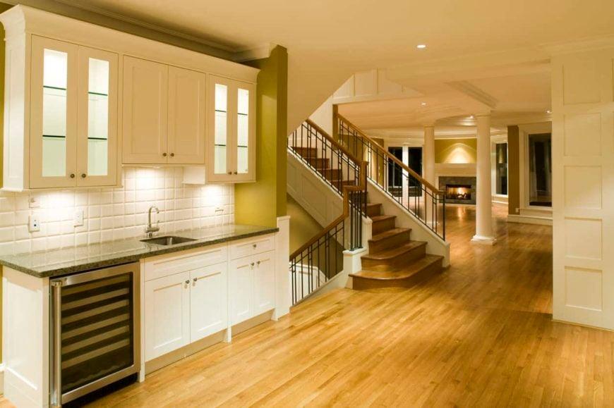 Home kitchen with oak flooring
