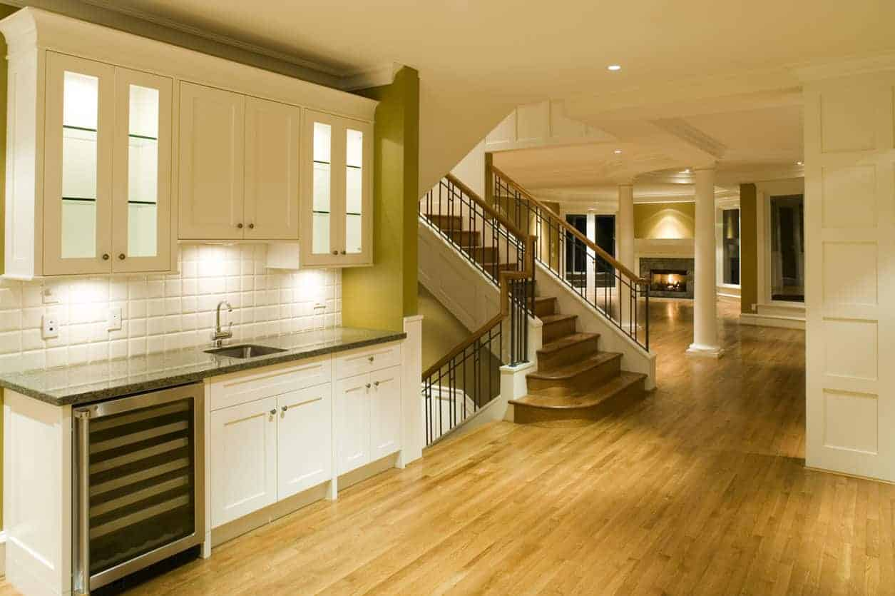 Home kitchen with oak flooring