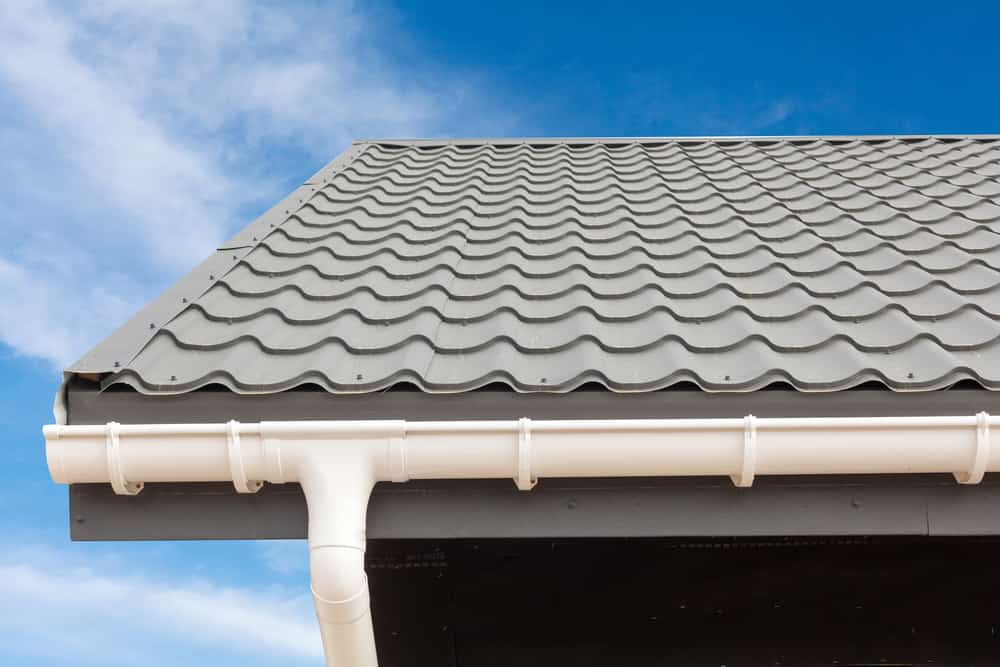 Close up photo of gutters on a house