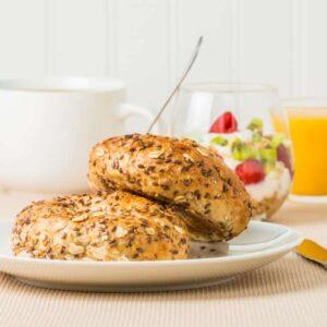 Delicious muesli bagels for breakfast