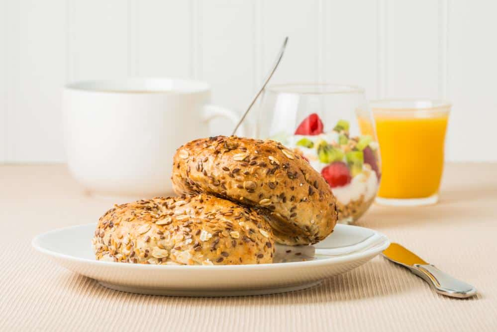 Delicious muesli bagels for breakfast