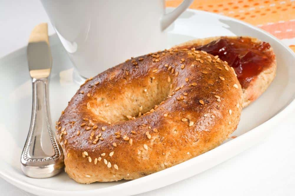 Toasted bagels and coffee for breakfast