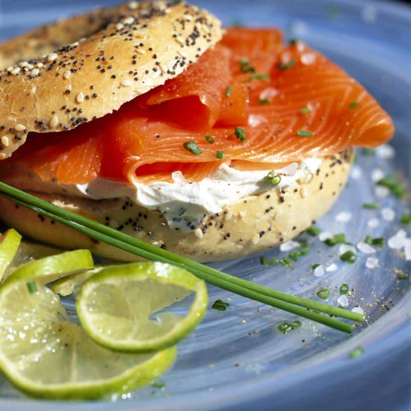 Cream cheese bagel with smoked salmon for breakfast