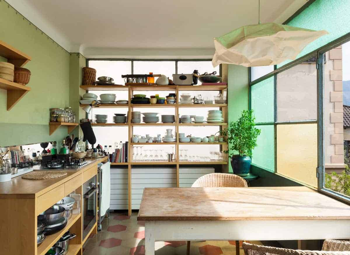 Loft kitchen with open shelves for storage