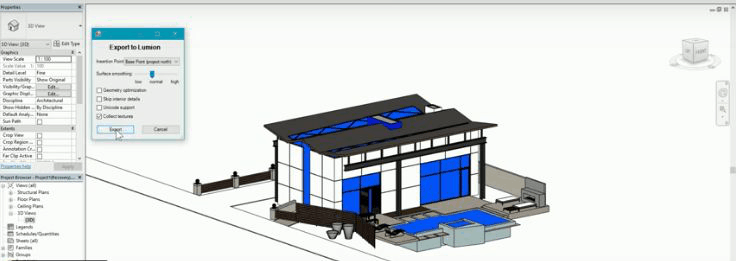 Blue and gray outline of house on architecture software