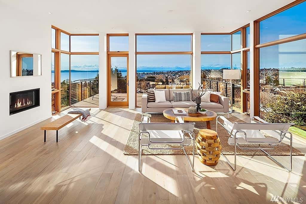 Modern living room open concept glass house