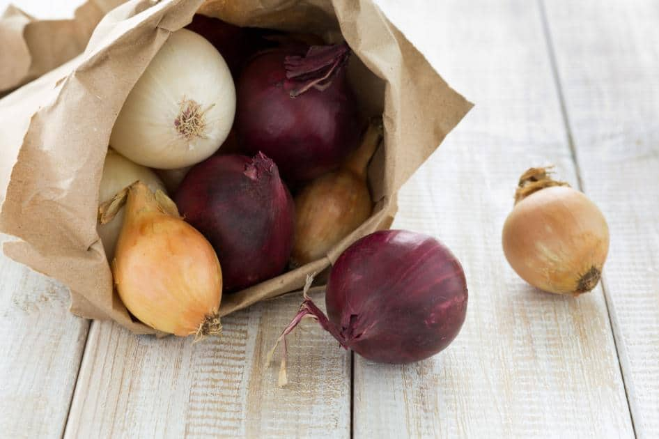 Onions in Brown Bag