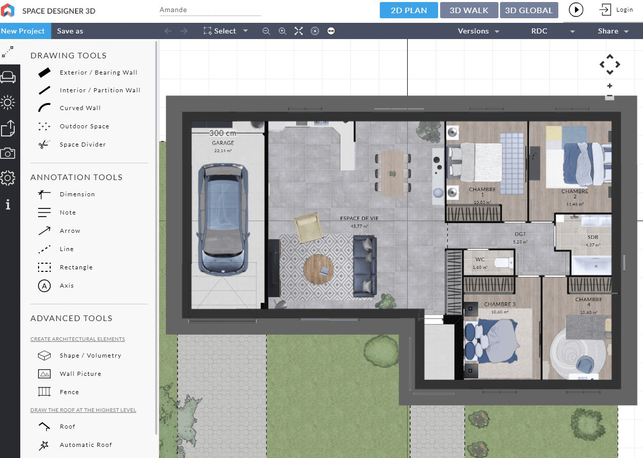 Program software for floor plan