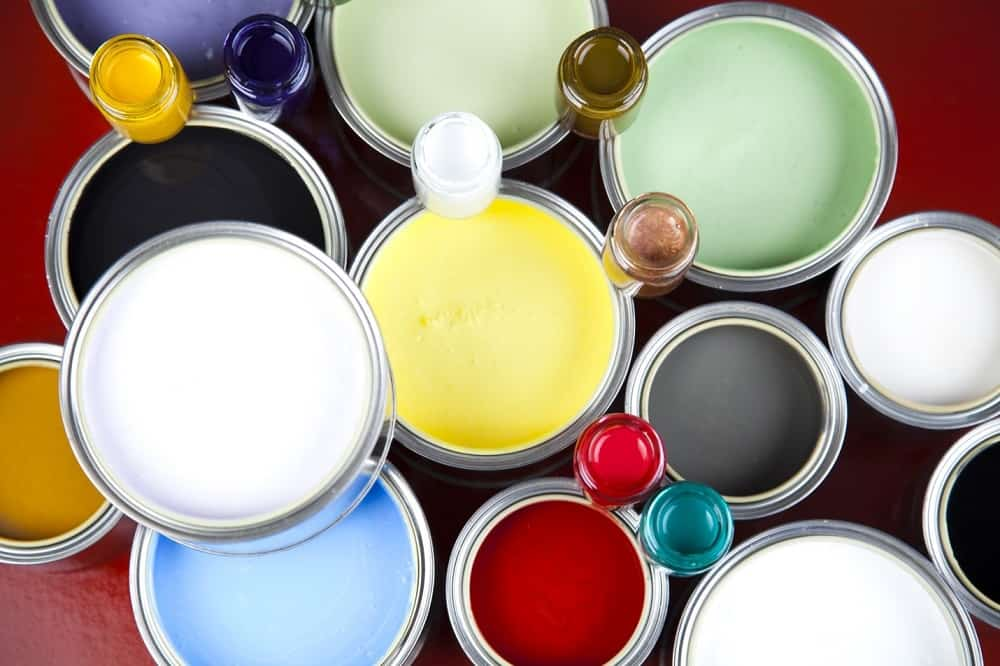 different open paint containers