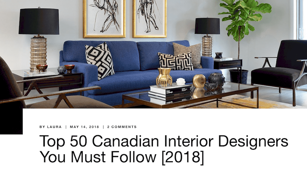 Top 50 Canadian interior designers award for Homestratosphere