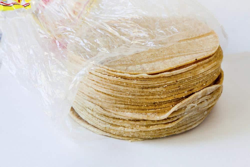 Corn tortillas in plastic