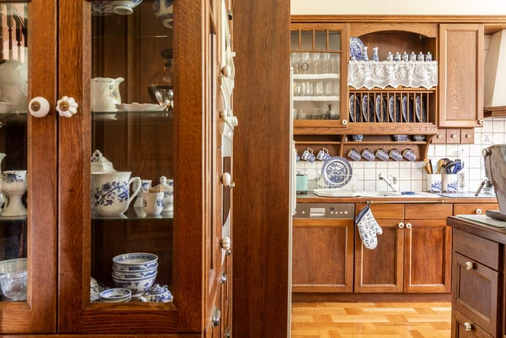 China cabinet used to display ceramics in the kitchen.