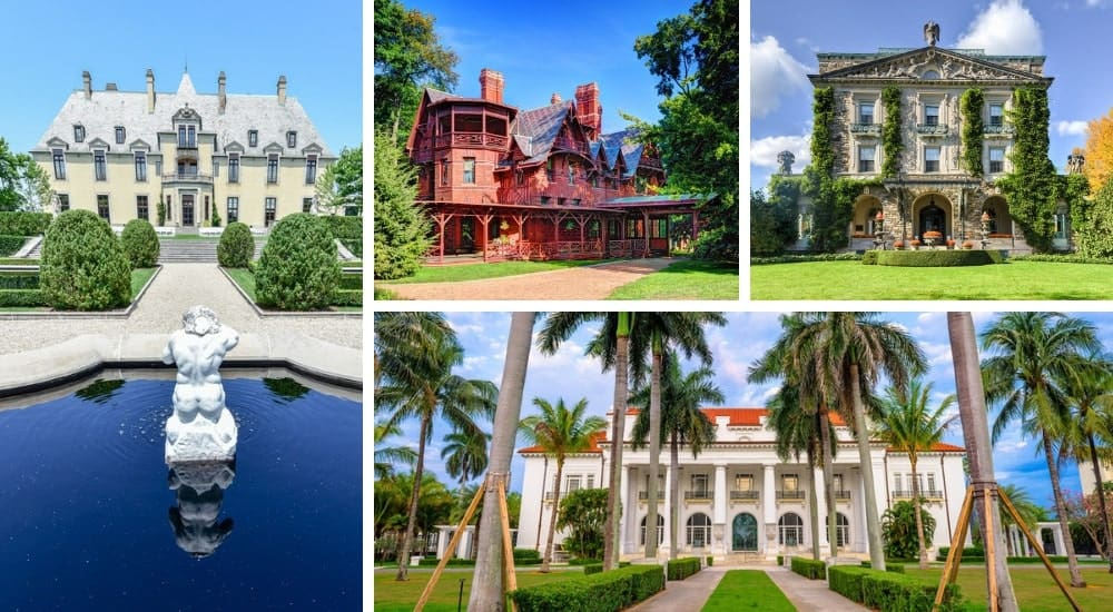 A collage of four fabulous historic homes and mansions in the USA.