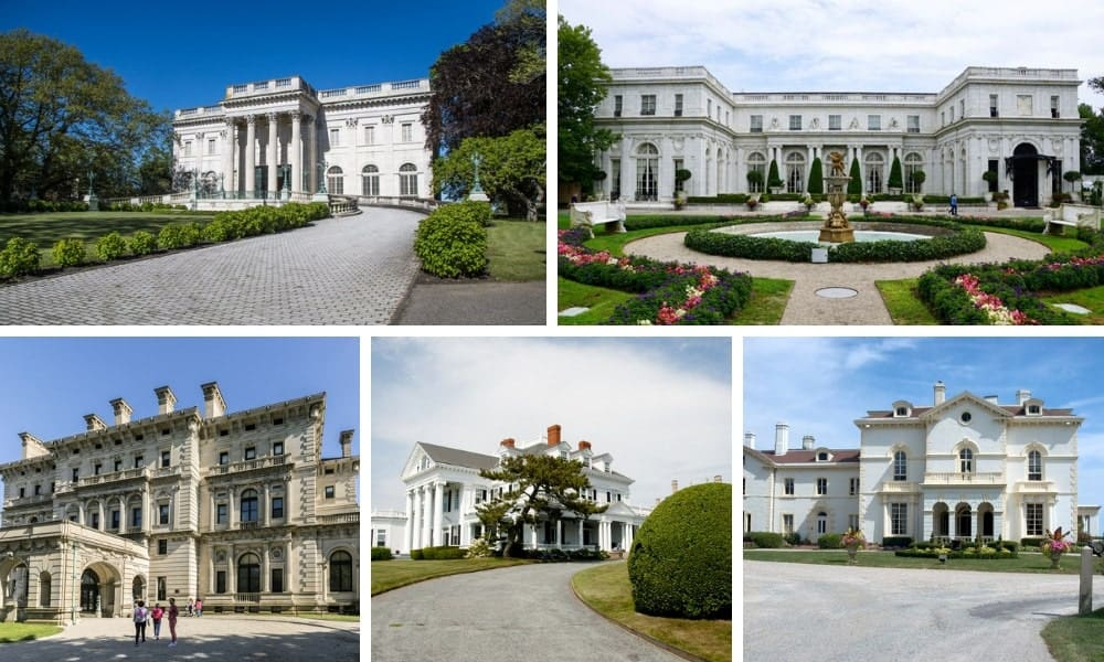 A collage of five mansions in Newport, Rhode Island.