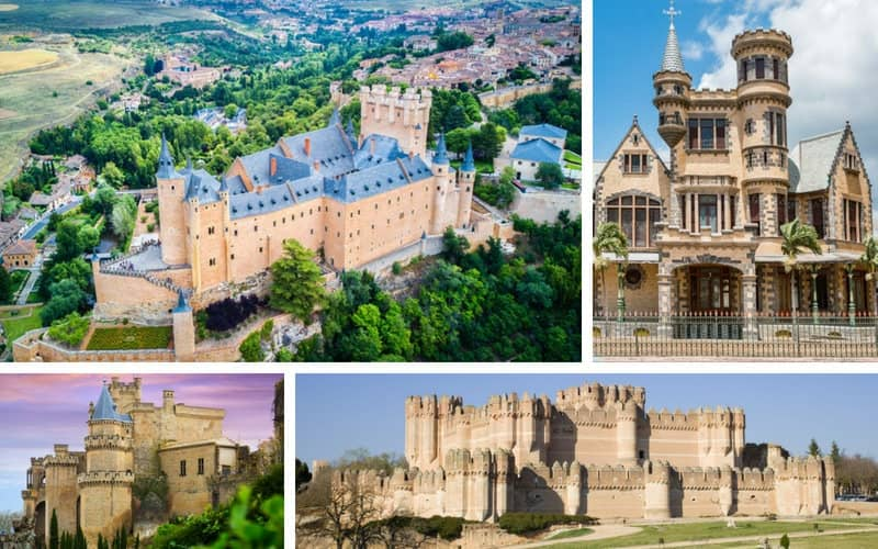 A collage of four Spanish castles and palaces.