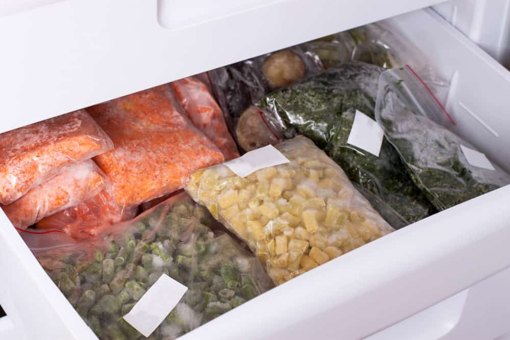 freezer with food stored in it