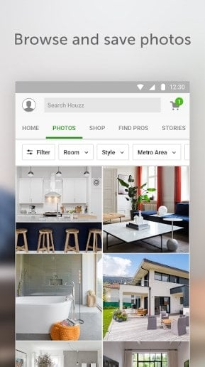 Screenshot of the Houzz app.