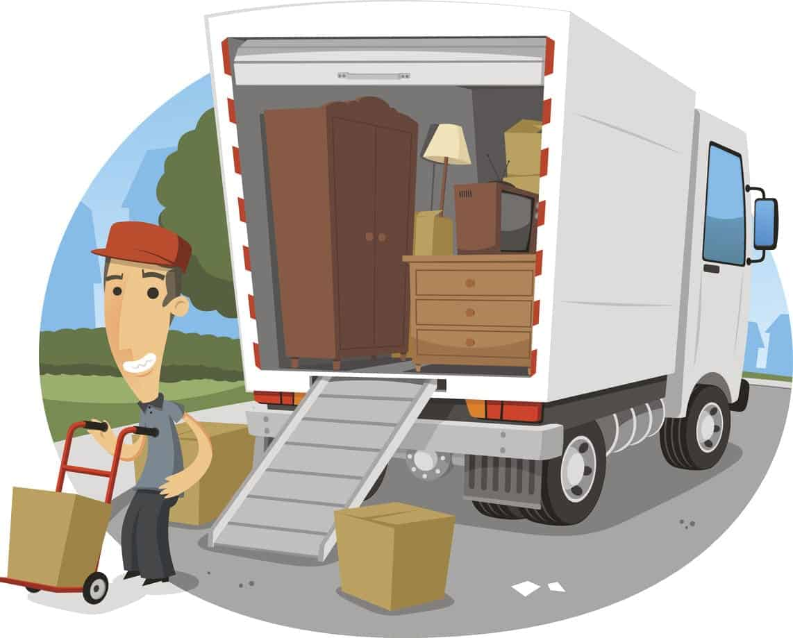 Illustration of a moving company rendering their service.