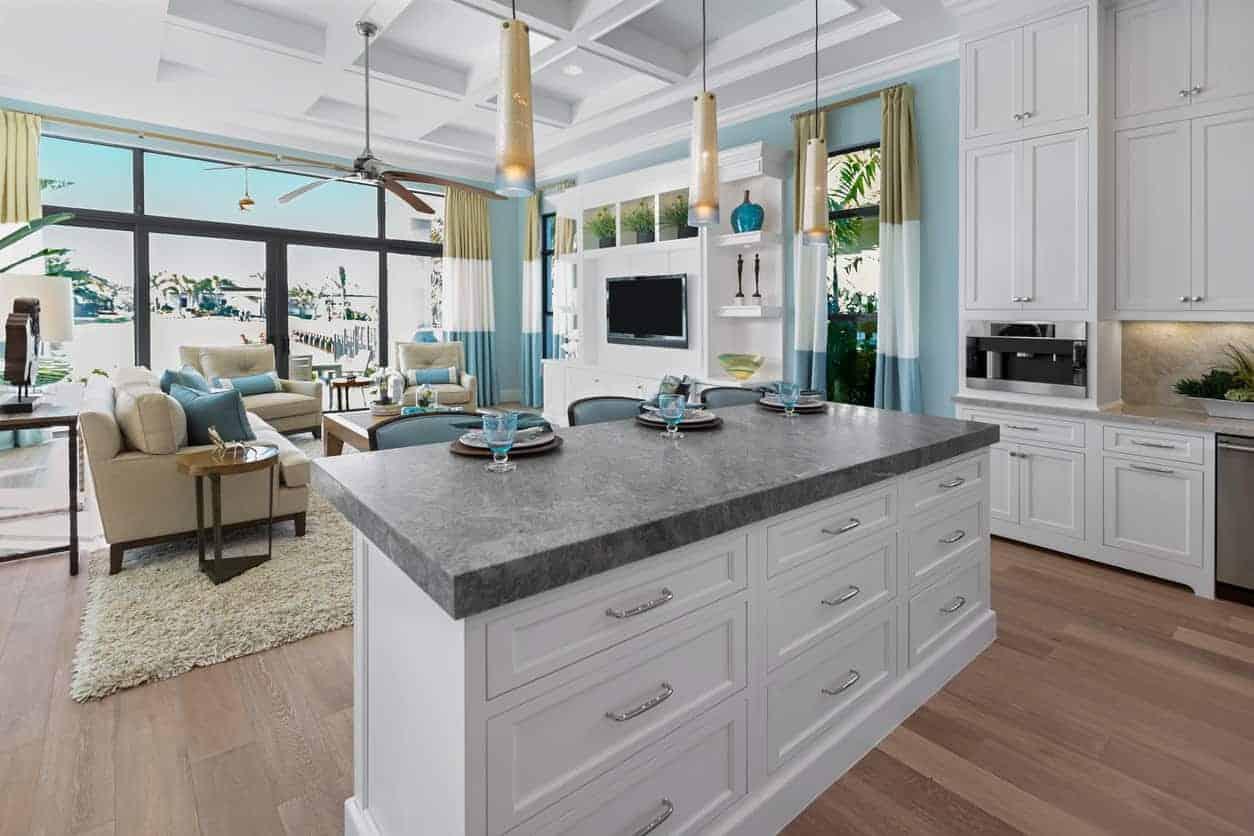 Kitchen island with storage drawers