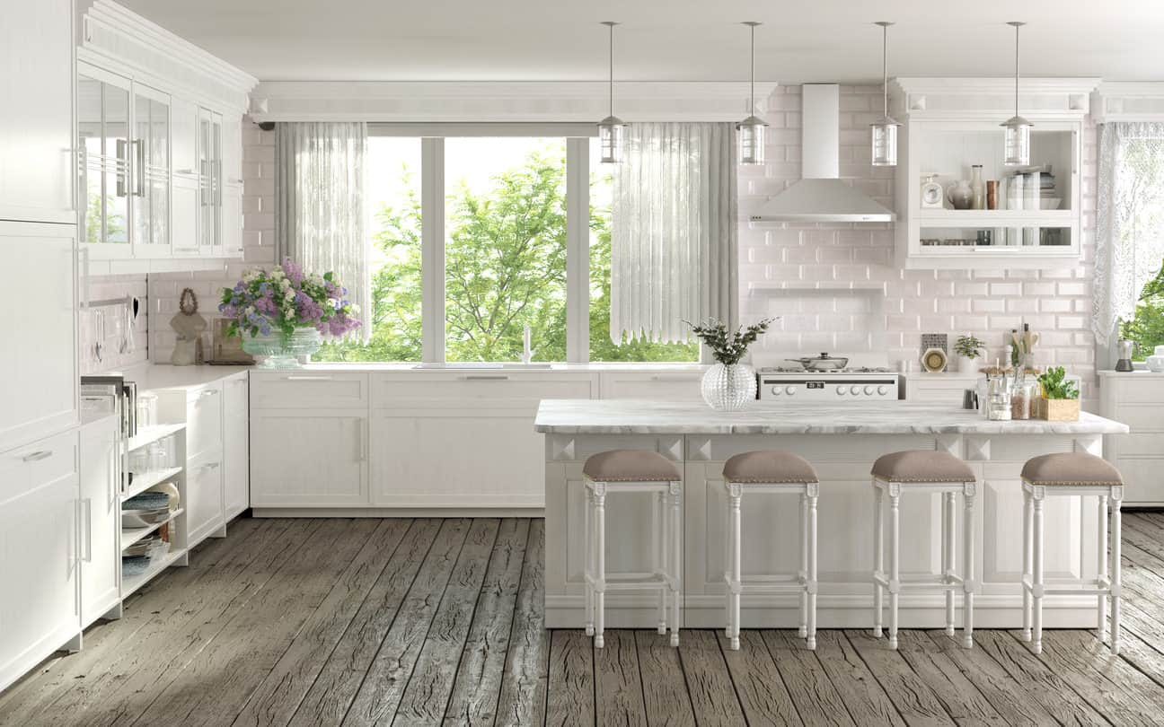 Raw cedar wood floorboards and white all over, this kitchen comes close to a dreamy cottage style living. Bricked walls that have just a hint of baby pink and ivory stool tops add subtle colors to the space while making it all the more lovely and divine. All the Good Combined