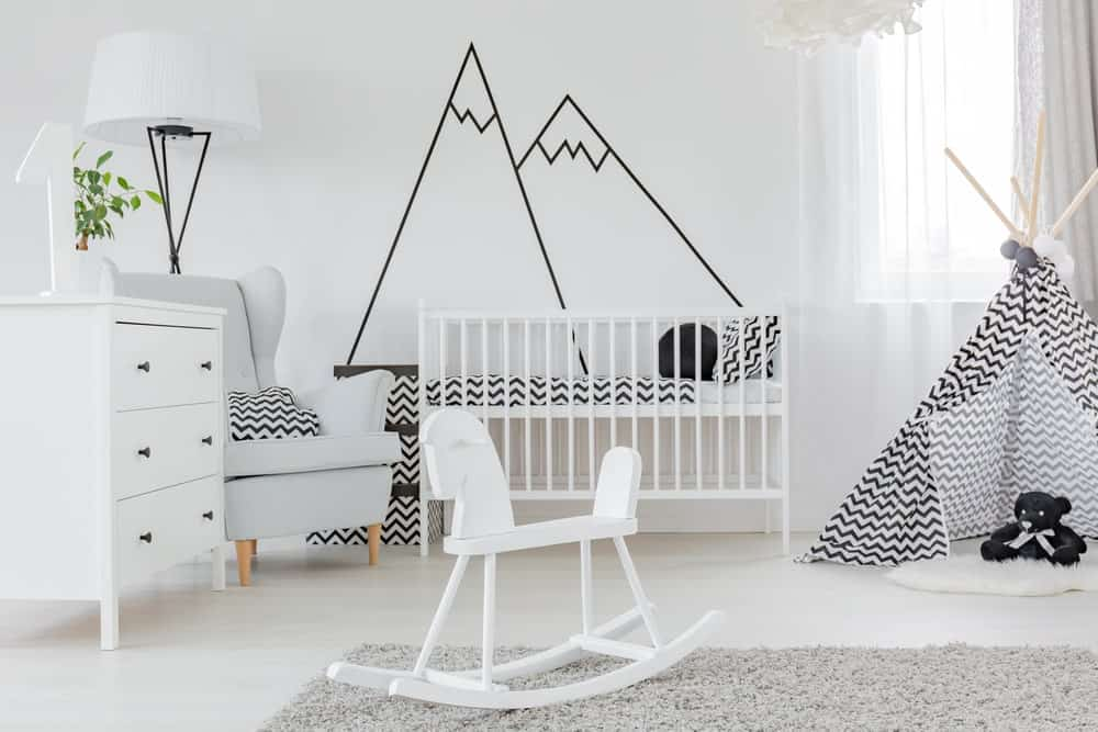 Wall decal featured in a modern nursery.