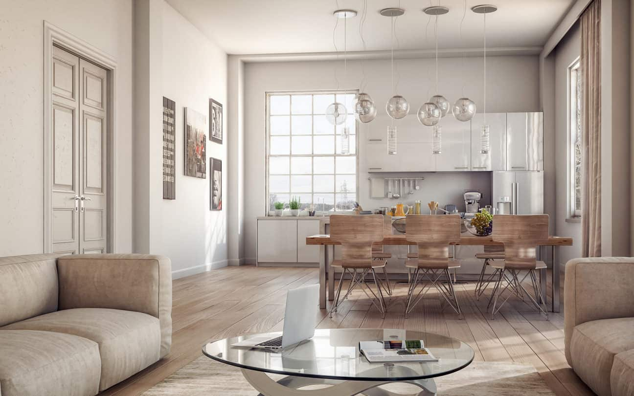 This place is compact but the genius use of light beige and muted ivory tones make it far more spacious than it actually is. The wide rectangular window provides the necessary lighting while the pendant bulbs atop the dining table add a hint of studio apartment living.