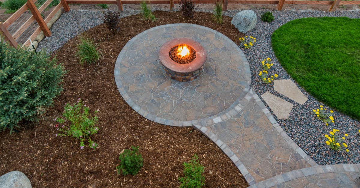 Top view of a patio with fire feature.