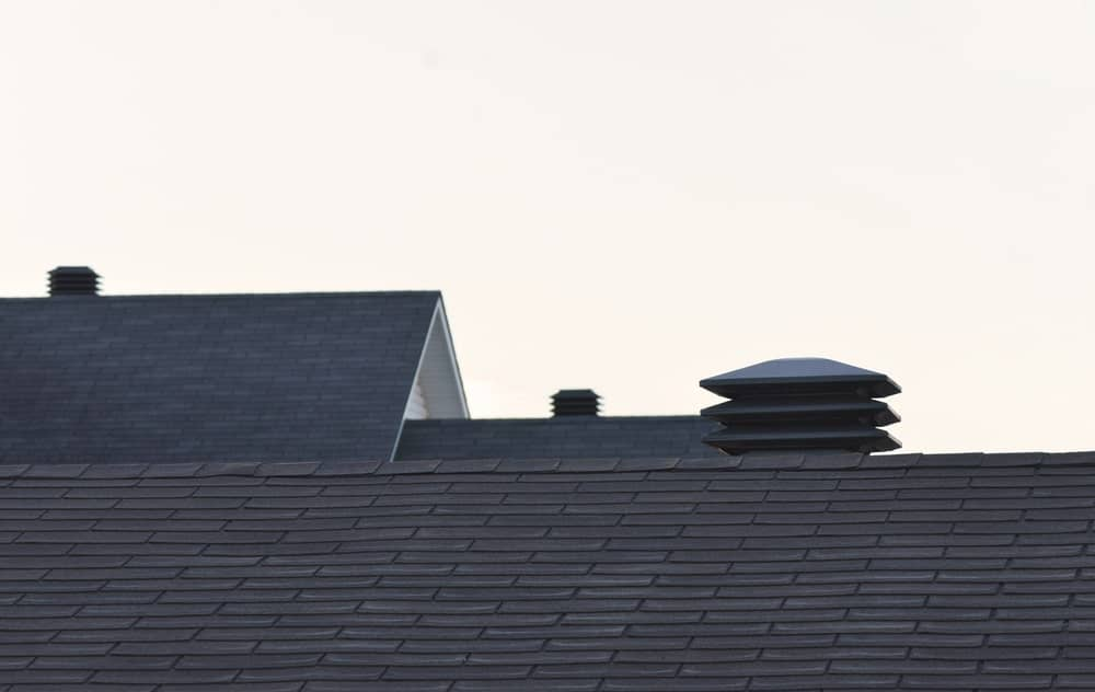 A view on the rooftop and rooftop vents.