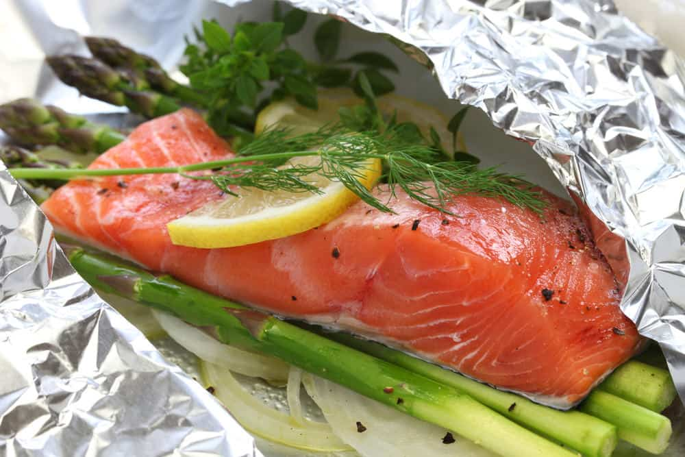 salmon stored in aluminum foil