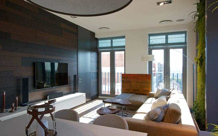 A clearer view of the Eco-friendly living room with glass windows and dark colored wood panel wall over a hardwood flooring.