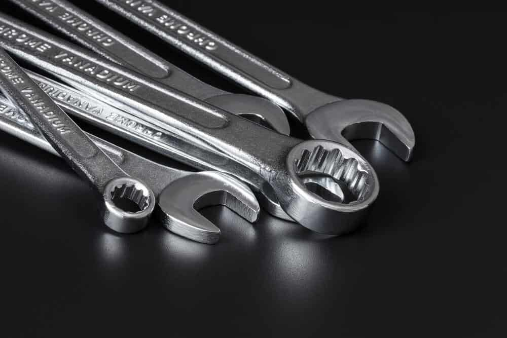 Different types of wrenches.