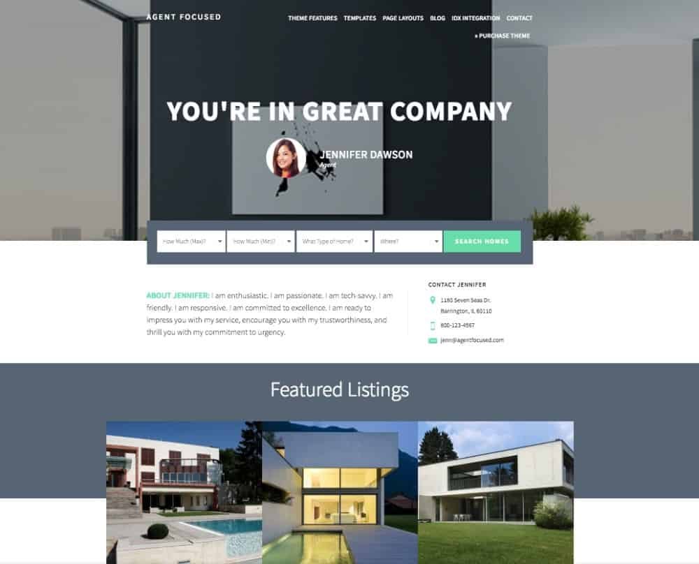 Agent Pro WordPress Theme home page example