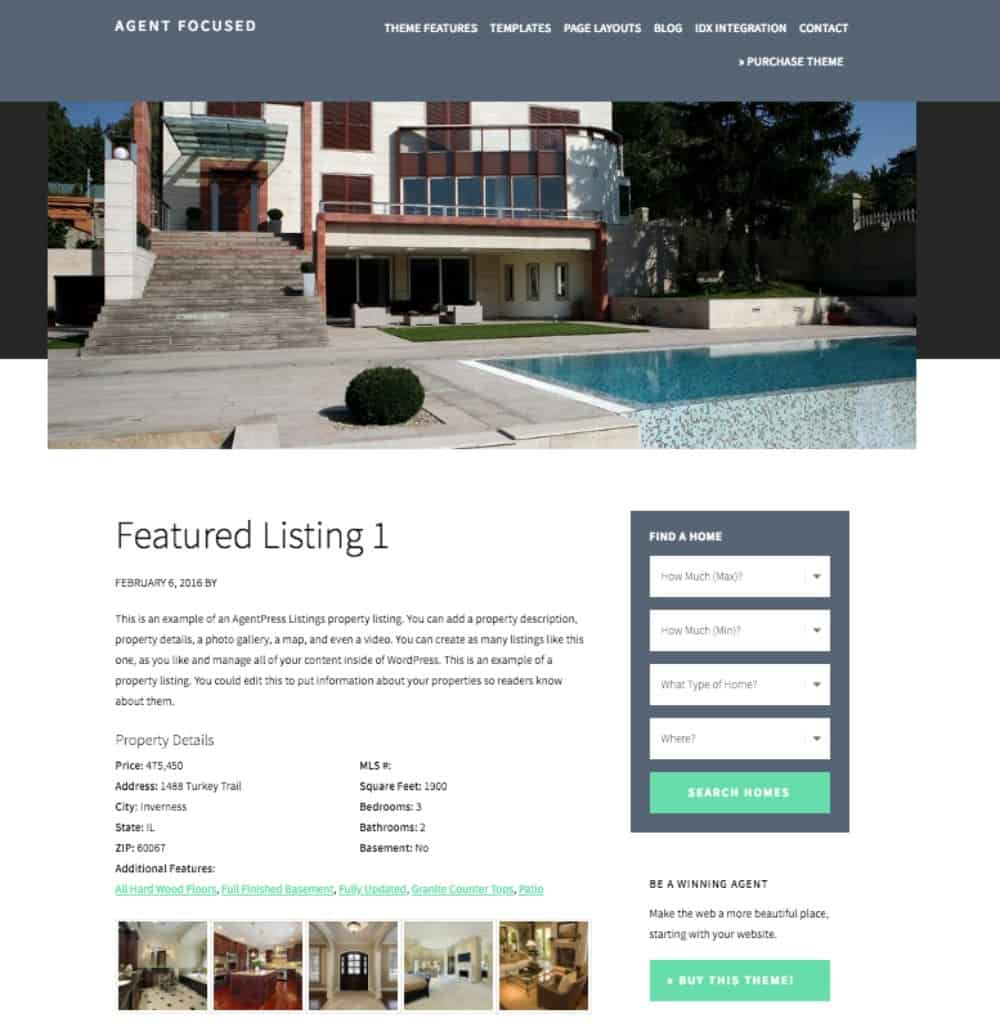 Agent Pro wordpress theme property listing page.