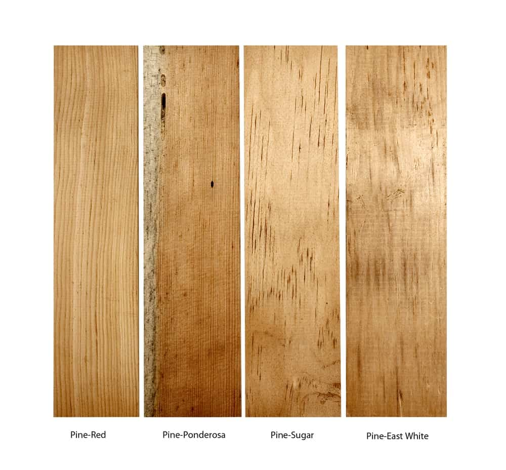 Four types of pine wood