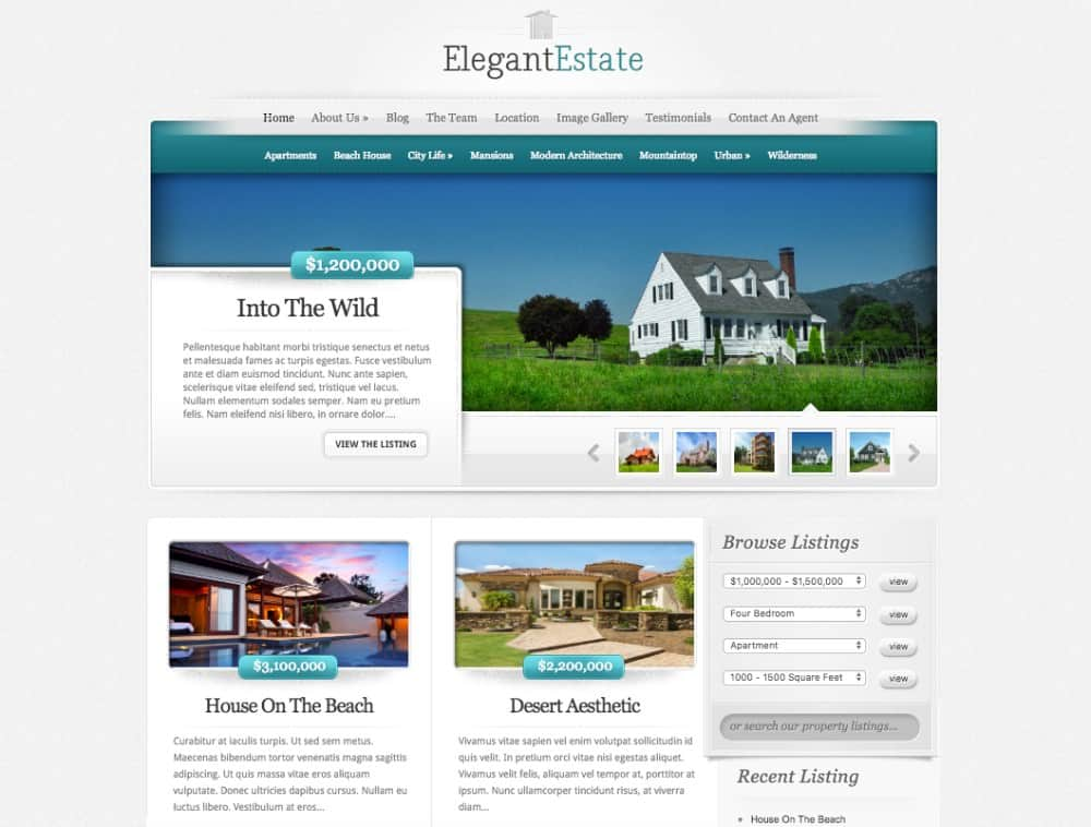 ElegantEstate home page for realtors