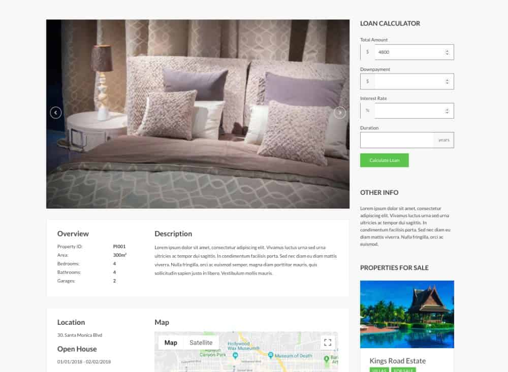 CSSIgniter realtor theme listing page