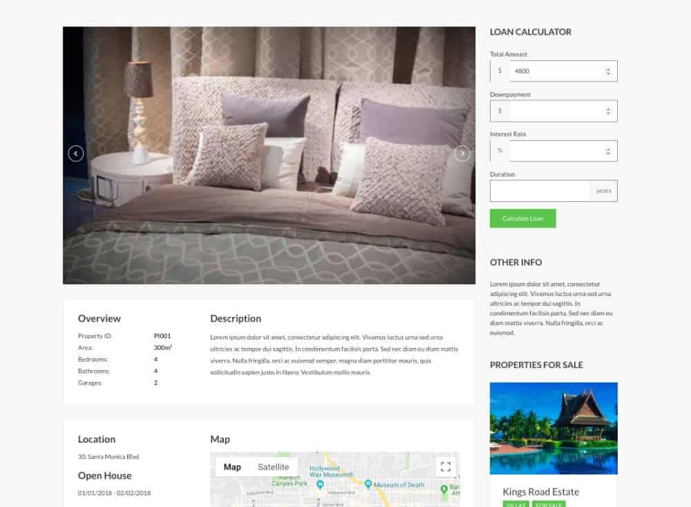 CSSIgniter realtor theme listing page