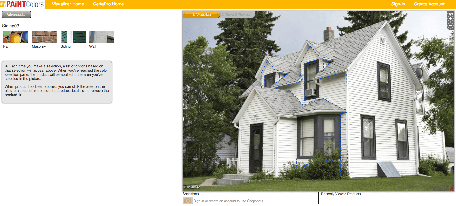 CertaPro My Paint Colors House exterior software