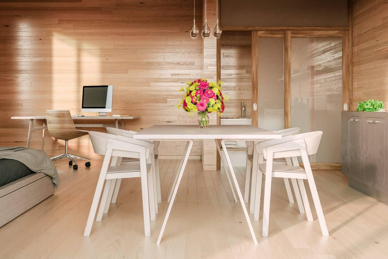 Log cabin interior with pine wood flooring