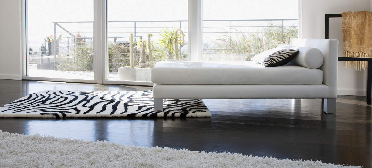Master bedroom with black and white zebra area rug
