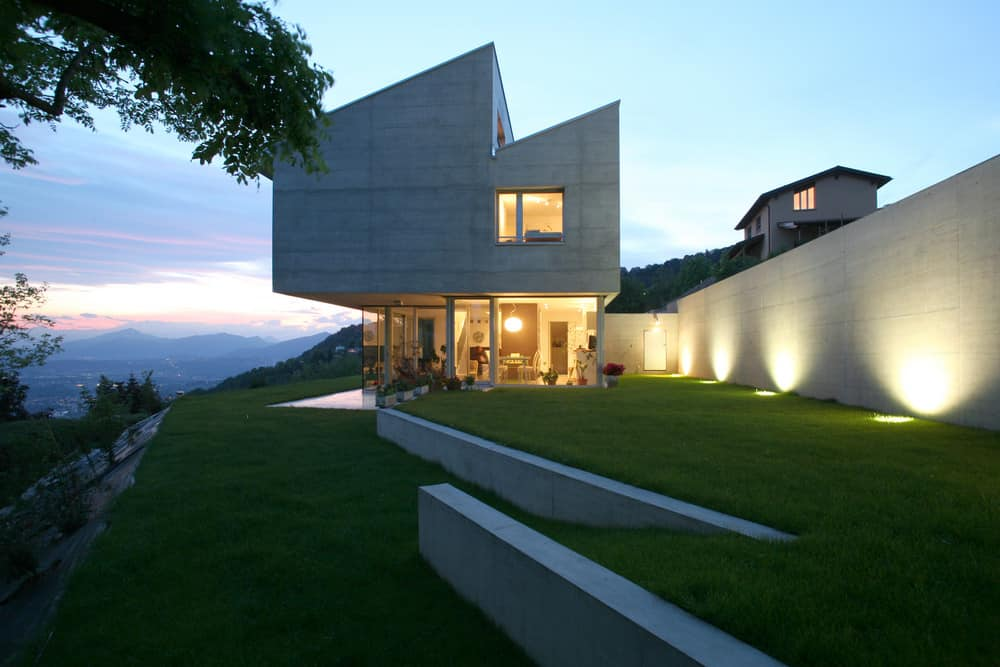 Modern house built on hillside