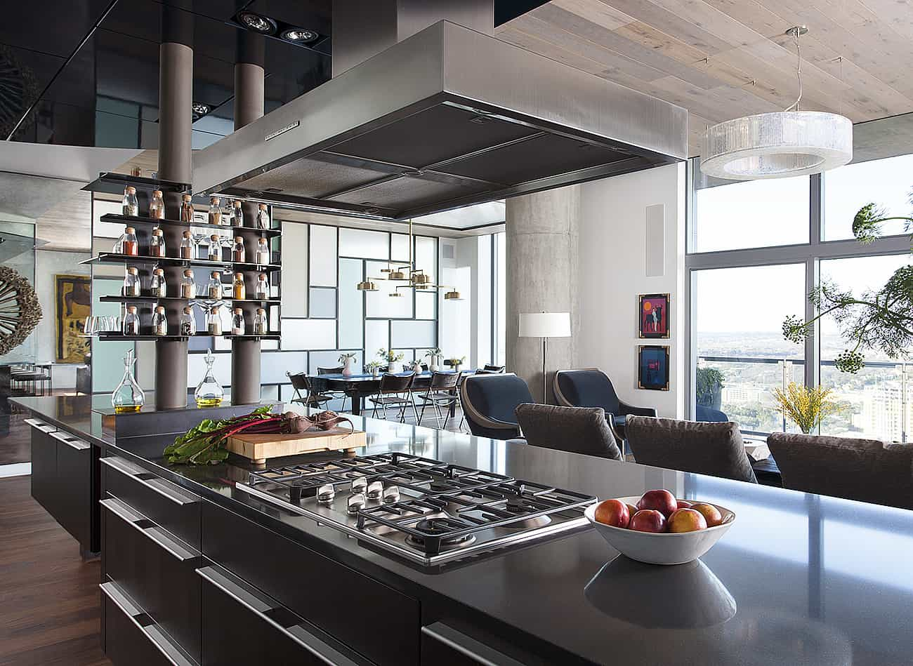Open concept great room in luxury condo by Sanders Architecture