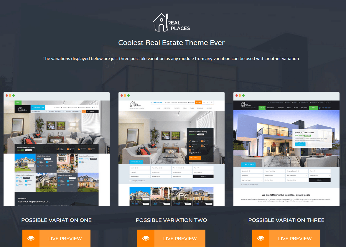 Real Places real estate website theme