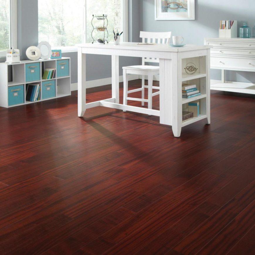 Room with mahogany flooring