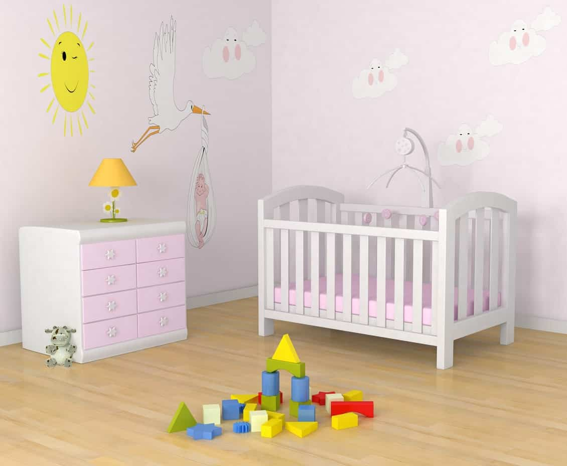 This cute nursery room with all interesting wall designs will surely take the attention of your baby girl. The mild colors are also beautifully blended with the room's style.